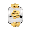 10kt Yellow Gold & Sterling Silver Flower Patterned Charm