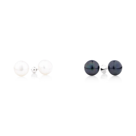 Earring Set With Cultured Freshwater Pearl & Cubic Zirconia In Sterling Silver