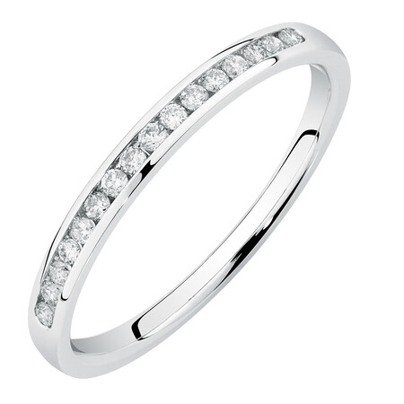 Wedding Band with 0.15 Carat TW of Diamonds in 14kt White Gold