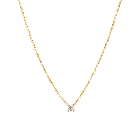 Mini Solitaire Necklace with Diamonds in 10kt Yellow Gold