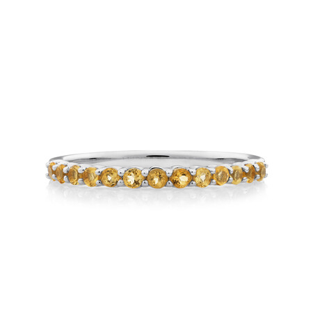 Stacker Ring with Citrine in Sterling Silver