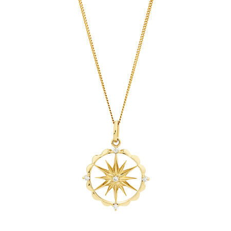 Star Talisman Pendant with Diamonds in 10kt Yellow Gold