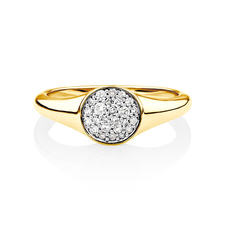 Pave Circle Ring with 0.19 Carat TW of Diamonds in 10kt Yellow Gold