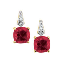 Drop Earrings with Created Ruby & Diamonds in 10kt Yellow Gold