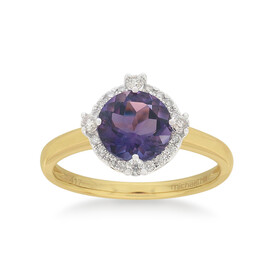 Ring with Amethyst & 0.15 Carat TW of Diamonds in 10kt Yellow Gold