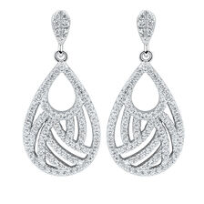 Fancy Drop Earrings with Cubic Zirconia in Sterling Silver