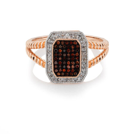 Ring with 0.23 Carat TW of White & Enhanced Red Diamonds in 10kt Rose & White Gold