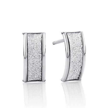 Glitter Stud Earrings in 10kt White Gold