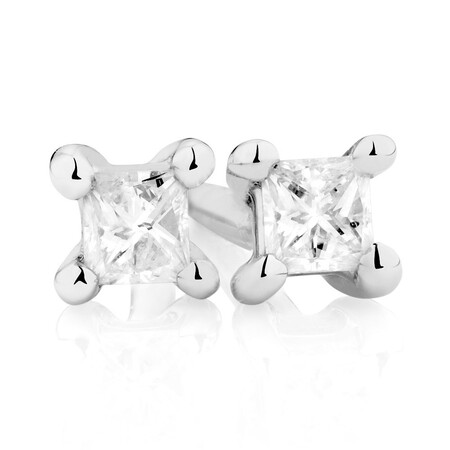 Stud Earrings with 0.085 Carat TW of Diamonds in 10kt White Gold