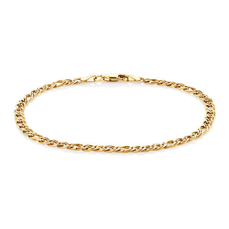 "19cm (7.5"") Double Oval Curb Bracelet in 10kt Yellow Gold"
