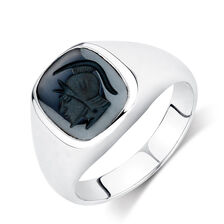 Men's Warrior Ring with Hematite in 925 Sterling Silver