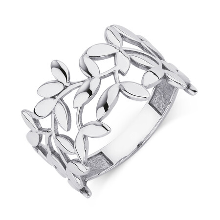 Olive Leaf Ring in 10kt White Gold