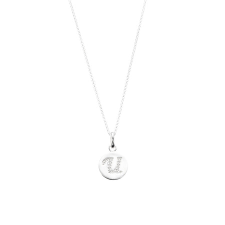 U Initial Pendant with Cubic Zirconia in Sterling Silver