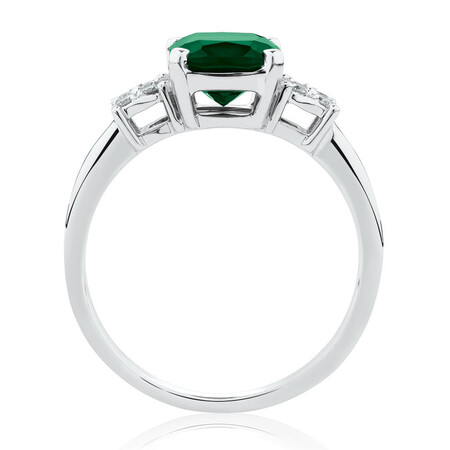 Ring with Diamonds & Created Emerald in 10kt White Gold