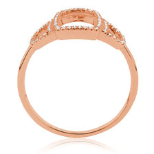 Geometric Ring with Diamonds in 10kt Rose Gold