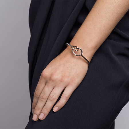 Knots Bangle in Sterling Silver & 10kt Rose Gold