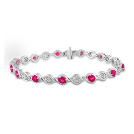 Twist Bracelet with Created Ruby & Diamonds in Sterling Silver