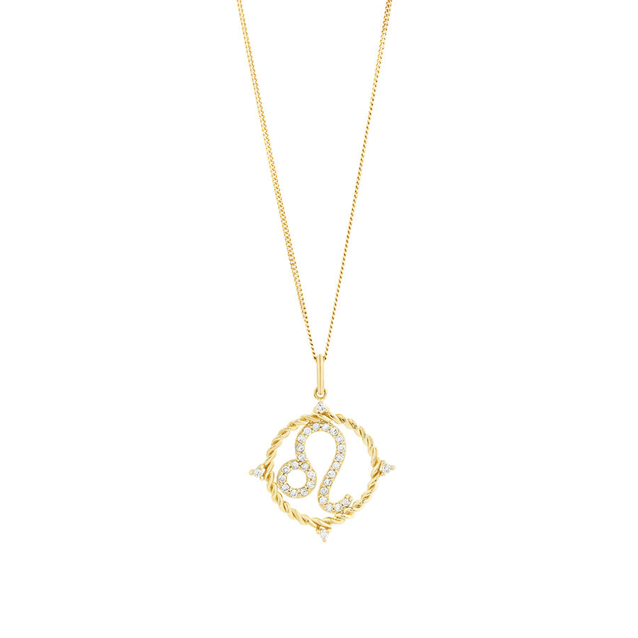 Leo Zodiac Pendant with 0.20 Carat TW of Diamonds in 10kt Yellow Gold