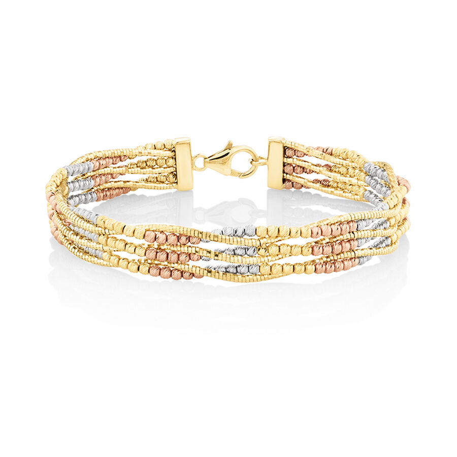 Beaded Bangle in 18kt Yellow, Rose & White Gold