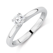 Certified Solitaire Engagement Ring with a 0.34 Carat TW Diamond in 14ct White Gold
