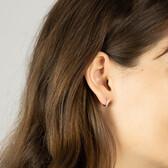 Mini Hoop Earrings with Diamonds in 10kt Rose Gold