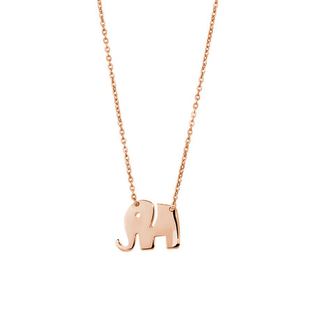 Mini Elephant Necklace in 10kt Rose Gold