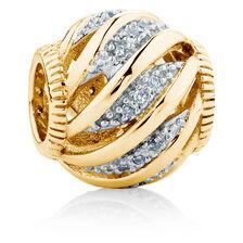 Diamond Set 10kt Yellow Gold Wave Charm