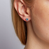 Stud Earrings with Blue Topaz & Diamonds in 10kt White Gold