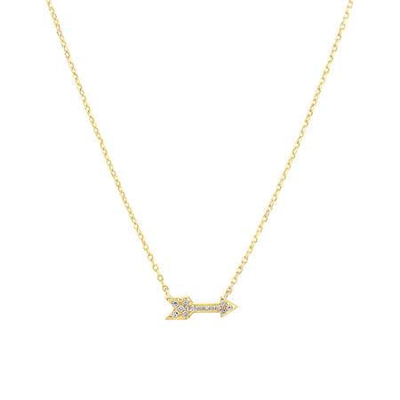 Arrow Necklace with Diamonds in 10kt Yellow Gold