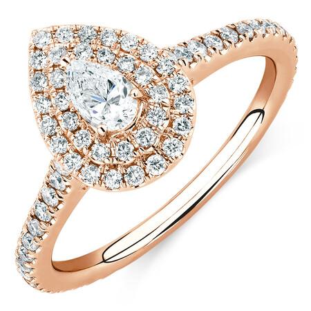 Sir Michael Hill Designer GrandArpeggio Engagement Ring with 0.87 Carat TW of Diamonds in 14kt Rose Gold