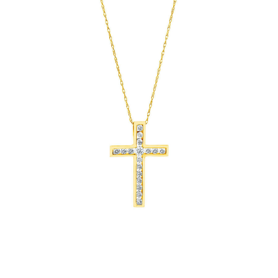 Cross Pendant in 10kt Yellow Gold With 1/2 Carat TW of Diamonds