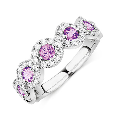 Bubble Ring With Natural Pink Sapphire & 0.46 Carat TW of Diamonds In 14kt White Gold