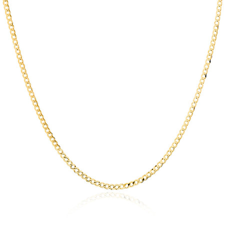 """50cm (20"""") Hollow Curb Chain in 10kt Yellow Gold"""