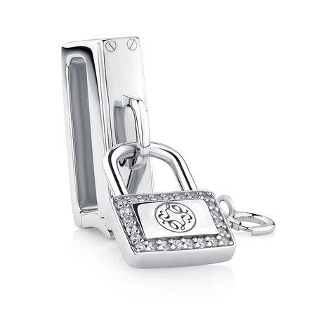 Bangle Padlock with Cubic Zirconia in Sterling Silver