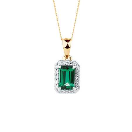 Pendant with Created Emerald and Diamonds in 10kt Yellow Gold