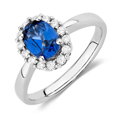 Online Exclusive - Ring with Created Sapphire & 1/4 Carat TW of Diamonds in 10kt White Gold