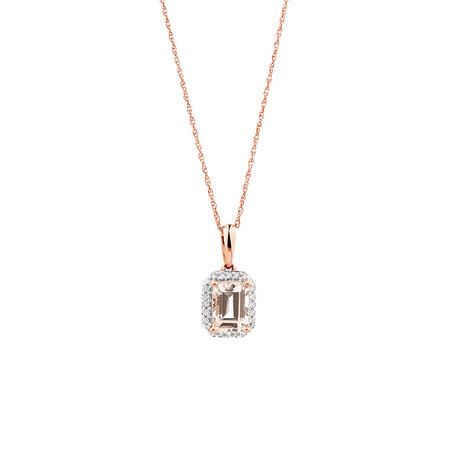 Pendant with Diamonds & Morganite in 10kt Rose Gold