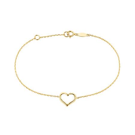 """19cm (7.5"""") Heart Bracelet in 10kt Yellow Gold"""