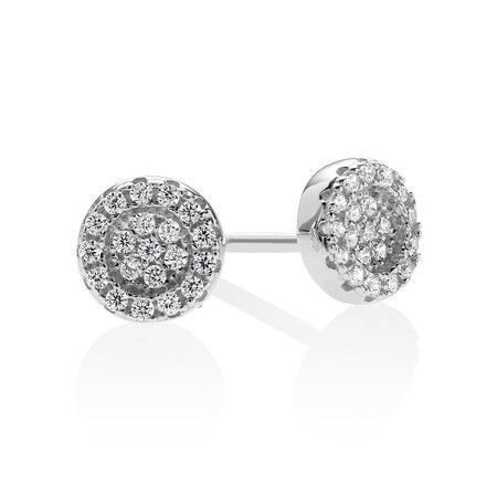 Pave Circle Stud Earrings with White Cubic Zirconia in Sterling Silver