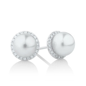 Earrings with 0.26 Carat TW of Diamonds & a Cultured Freshwater Pearl in 10kt White Gold