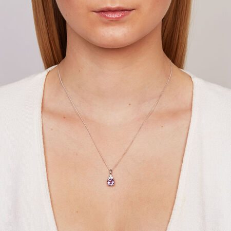 Pendant with Amethyst & Created White Sapphire in Sterling Silver