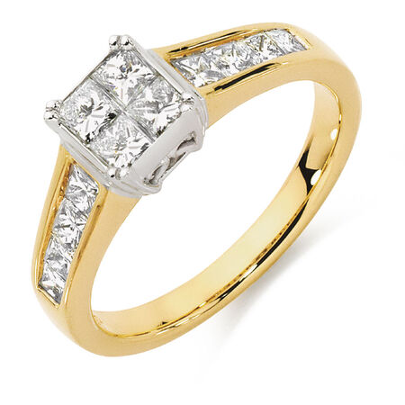 Engagement Ring with 1 Carat TW of Diamonds in 18kt Yellow & White Gold