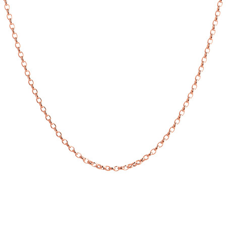 """55cm (22"""") Hollow Rolo Chain in 10kt Rose Gold"""