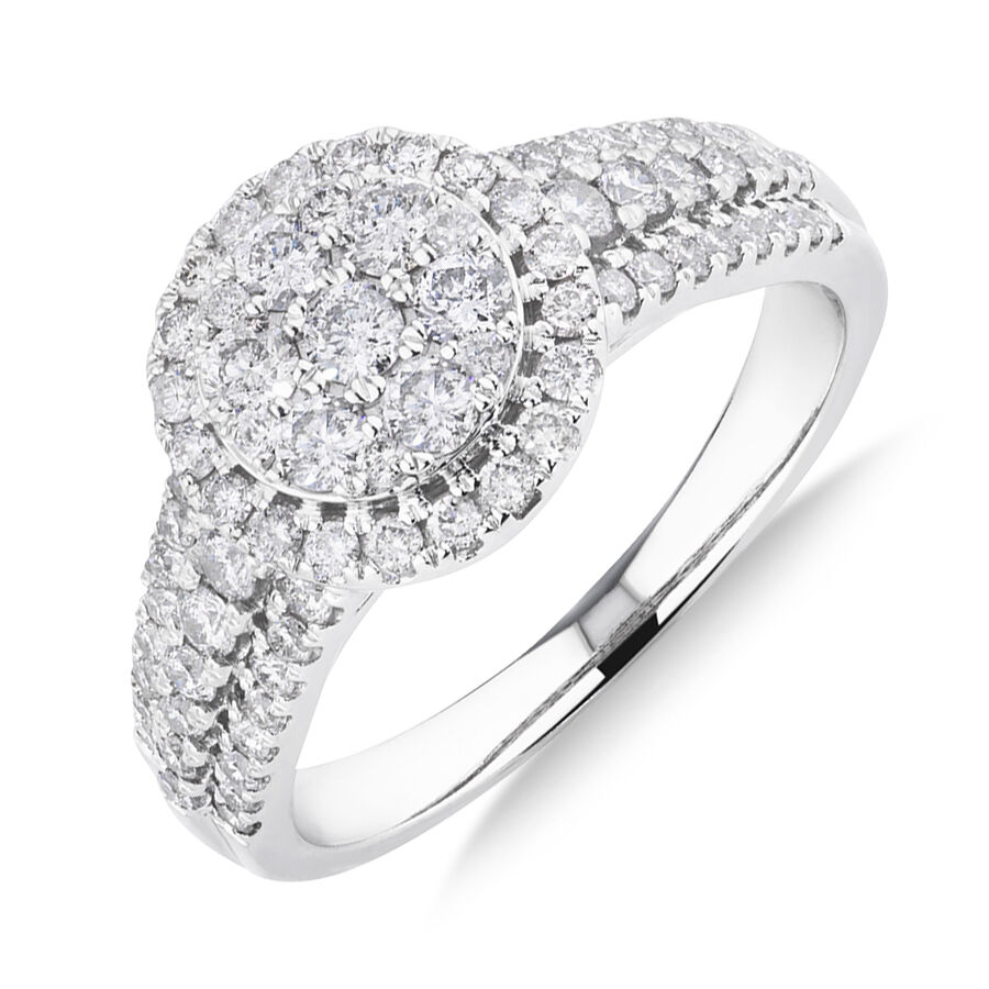 Halo Ring with 1 Carat TW of Diamonds in 10kt White Gold