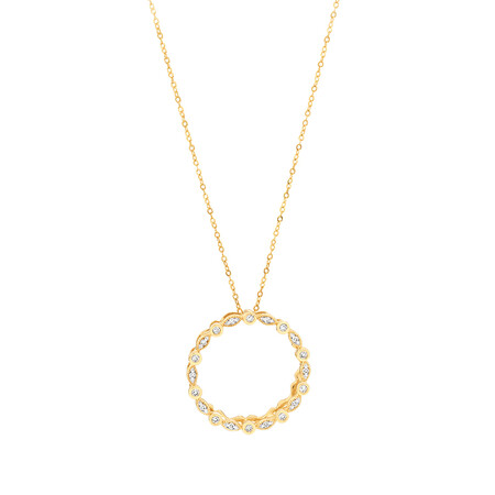 Circle Necklace with 0.10 Carat TW of Diamonds in 10kt Yellow Gold