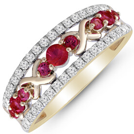 Ring with Created Ruby & 0.25 Carat TW of Diamonds in 10kt Yellow Gold