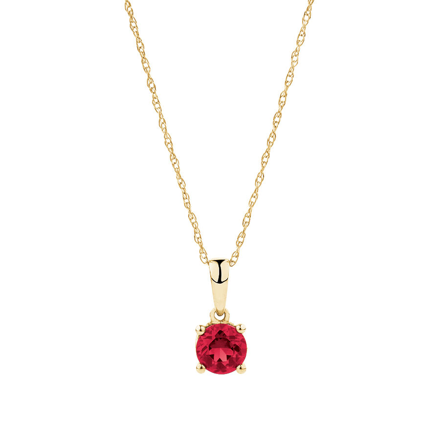 Pendant with Created Ruby in 10kt Yellow Gold