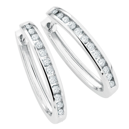 Hoop Earrings with 1/2 Carat TW of Diamonds in 10kt White Gold