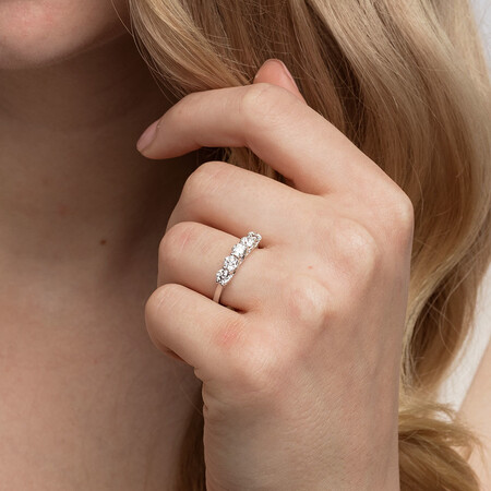 Southern Star 5 Stone Engagement Ring with 1.15 Carat TW of Diamonds in 14kt White Gold