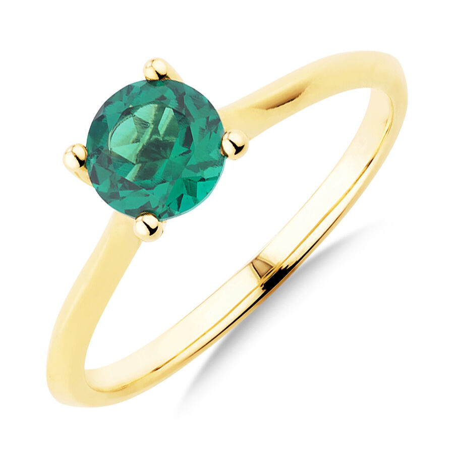 Ring with Created Emerald in 10kt Yellow Gold